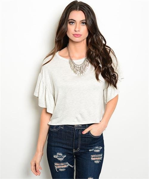 Oatmeal Flutter Sleeve High Low Top Size M
