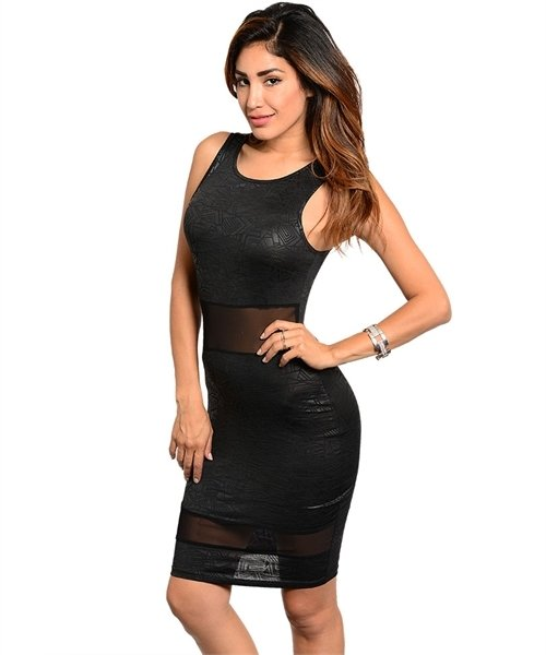 Black Lace Inset LBD Sheath Bodycon Dress Geo Print Size M