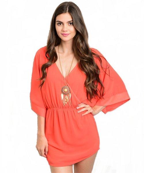 Tomato Dolman Sleeve V Neck Mini Dress Size M