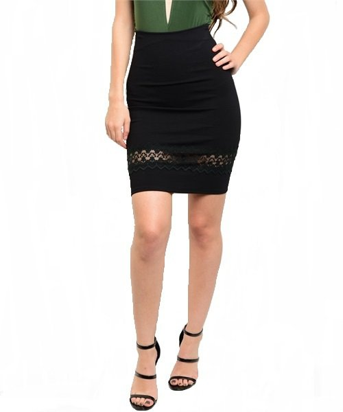 Black Lace Detail Bodycon Pencil Skirt Size M
