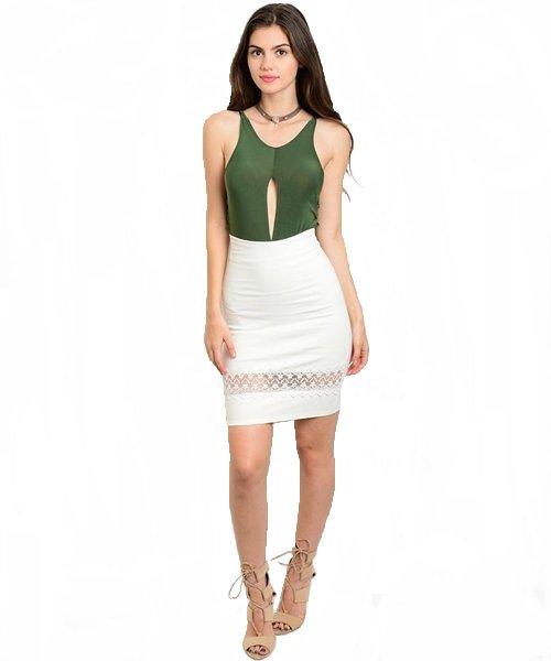 White Lace Detail Bodycon Pencil Skirt Size L