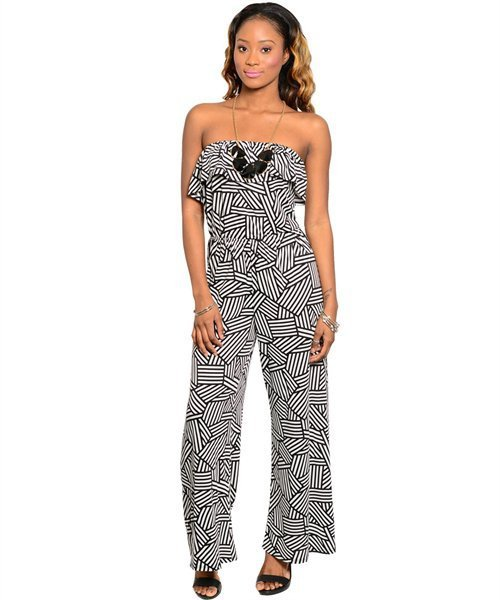 Black and White Fitted Wide Leg Flounce Bib Halter Jumpsuit Size XL