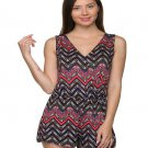 Black and Coral Chevron Print V-Neck Romper Size L