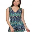 Blue and Green Chevron Print V-Neck Romper Size M