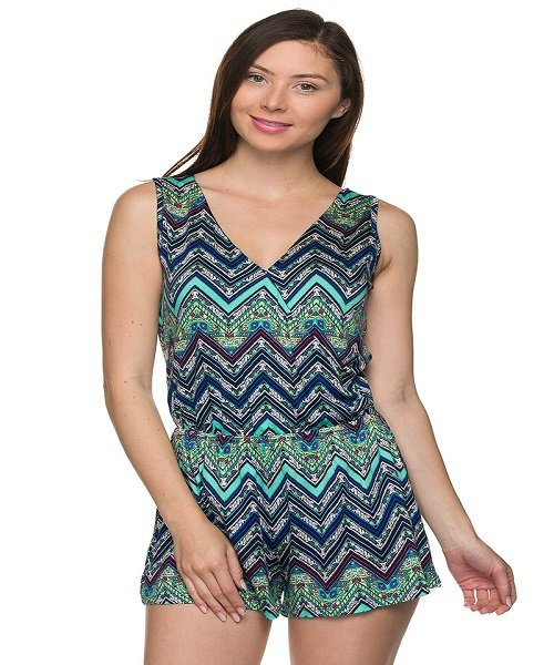 Blue and Green Chevron Print V-Neck Romper Size L