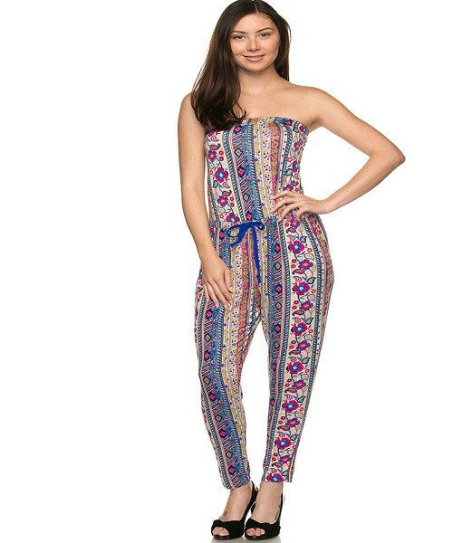 Blue and Pink Printed Halter Tie Waist Tube Jumpsuit Size L
