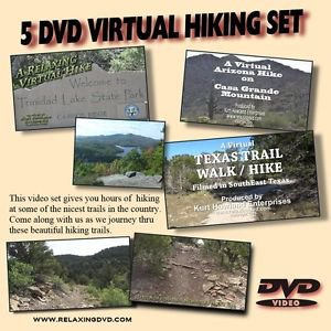 5 DVD VIRTUAL HIKING SET, great for use with treadmill, or stair stepper