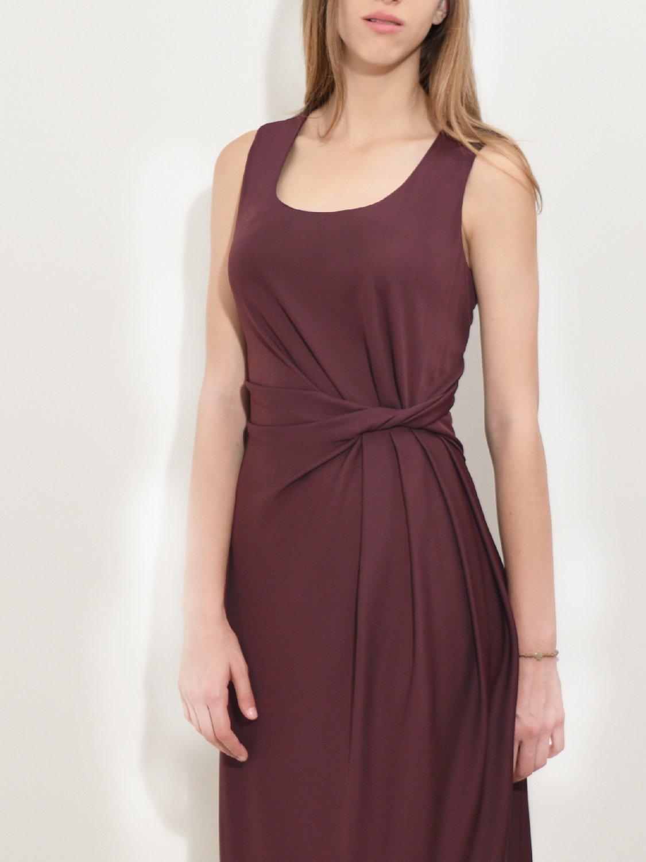 Draped Jersey Dress red wine