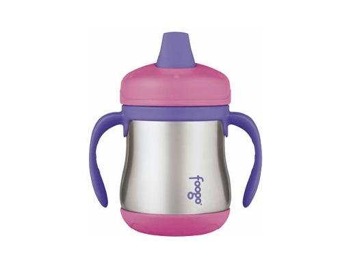 Foogo Stainless Steel Sippy Cup w/ Handles - Pink