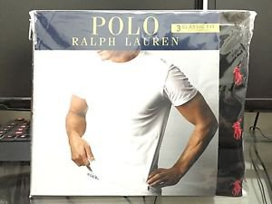 Polo Ralph Lauren Classic Fit Three 3 Pack Cotton Crew Neck Tee Shirt BLACK