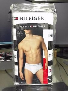 Men's Underwear Tommy Hilfiger 4 Pack Classic Fit Brief 100% Cotton BLACK $39.50