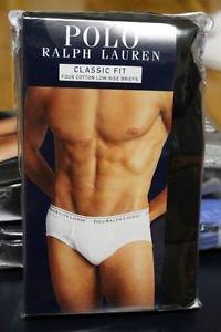 Polo Ralph Lauren Classic Fit Four 4 Pack Cotton Low Rise Briefs Underwear BLACK