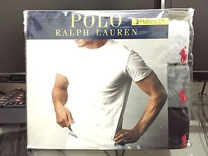 Polo Ralph Lauren Classic Fit Three 3 Pack Cotton Crew Neck Tee Shirt Grey MULTI