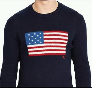 Polo Ralph Lauren Mens USA America Flag Patch Navy Crewneck Cotton Sweater Small