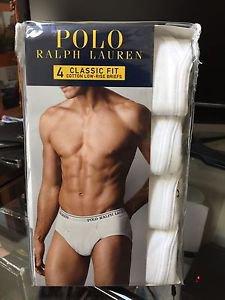 Polo Ralph Lauren Classic Fit Four 4 Pack Cotton Low Rise Briefs Underwear White