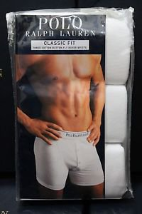 Polo Ralph Lauren Classic Fit Three 3 Pack Cotton Button Fly Boxer Brief WHITE