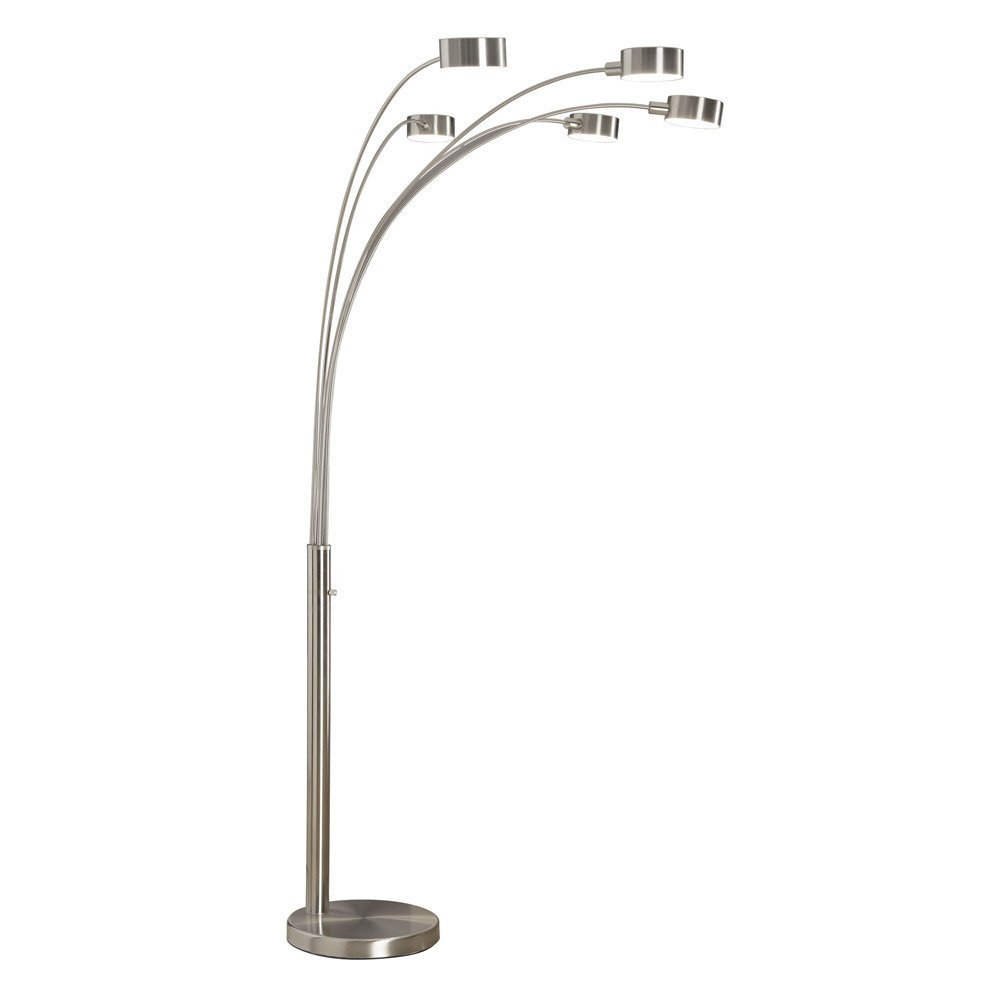 Artiva USA Micah - Modern & Stylish - 5 Arc Brushed Steel Floor Lamp w/ Dimmer Switch