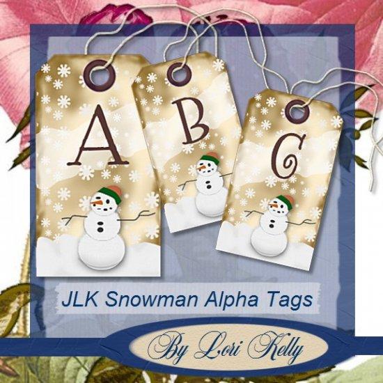 JLK Snowman Alpha Tags - ON SALE!