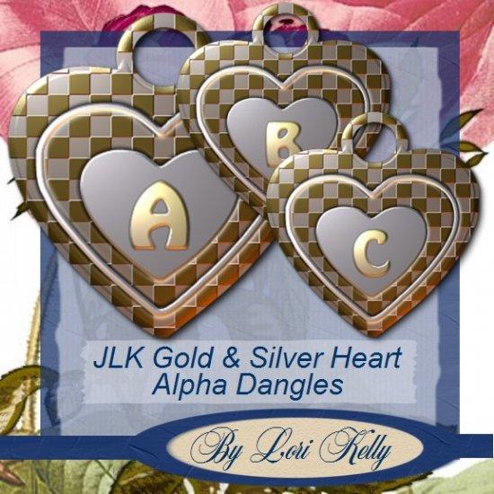 JLK Gold & Silver Heart Alpha Dangles - ON SALE!