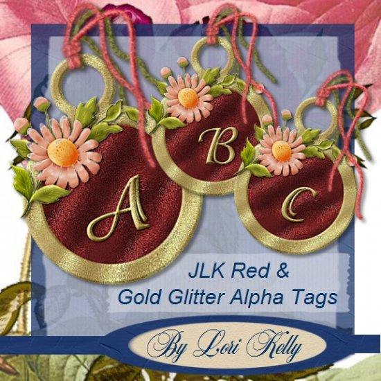 JLK Red & Gold Glitter Alpha Tags - ON SALE!