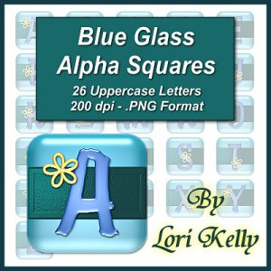 Blue Glass Alpha Squares - ON SALE!