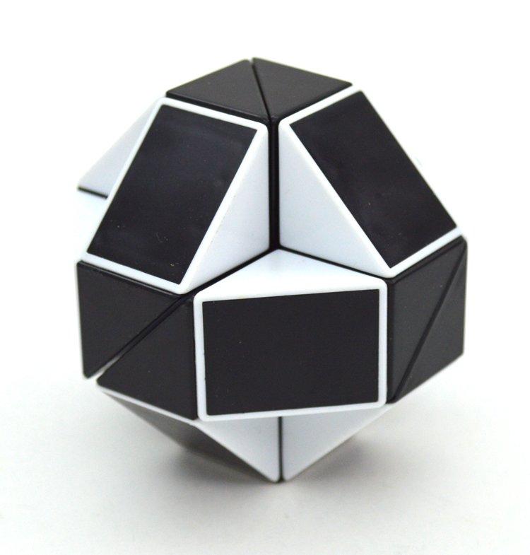 SHS Creative Changeable Rubik's Snake Magic Cube Puzzle Toy Black-white