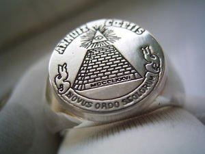 Masonic Dollar Ring SILVER 925 & GOLD 14K Pyramid Eye Illuminati Freemason Mason