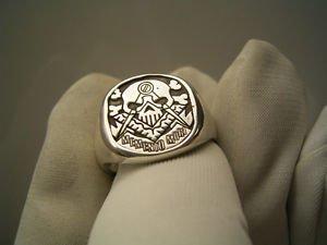 Men's MEMENTO MORI Ring MASONIC FREEMASON Sterling Silver Symbol Skull free P&P