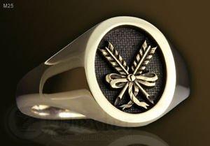 Masonic Secretary SIGN Ring SILVER 925 & GOLD 14K Freemason Mason