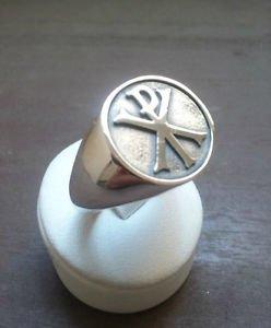 FREEMASON-MASONIC Silver RING Chi Rho Christian MASON RING free P&P