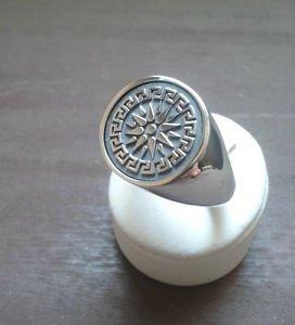 FREEMASON-MASONIC RING Black Sun Handmade Silver MASON RING free P&P