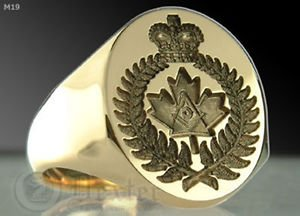Canadian Masonic Ring SILVER 925 & GOLD 14K Freemason Mason