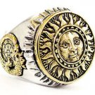 Sun OUROBOROS WHEEL OF FORTUNMASONIC Sterling Silver Yellow Gold Symbol free P&P