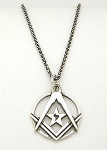 MASONIC NECKLACE Silver MASON Symbol The American Federation of Human Rights