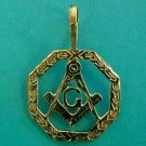 MASONIC NECKLACE MASON 14K GOLD Compass Master G Illuminate Handmade Pendant