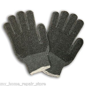 FREE S&H! GET A GRIP WITH THESE! 2 PAIRS! GREY MACHINE KNIT GLOVES WITH PVC DOTS