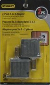 US SELLER ! FAST FREE S&H ! 2 PACK ! STANLEY 3-2 PRONG GROUNDING ADAPTER #30397