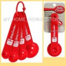 US SELLER! FAST FREE S&H! RED BETTY CROCKER 4 PIECE PLASTIC MEASURING SPOON SET