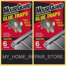 12 / $10! MOUSE GUARD GLUE TRAPS 2 BOXES OF 6 INSECTICIDE FREE BAITED GLUE TRAPS