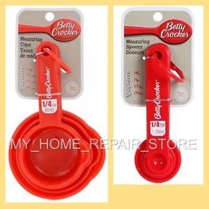 US SELLER! FREE S&H! RED BETTY CROCKER 8 PIECE PLASTIC MEASURING CUP & SPOON SET