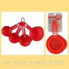 US SELLER! FREE S&H! RED BETTY CROCKER 4 PIECE PLASTIC KITCHEN MEASURING CUP SET