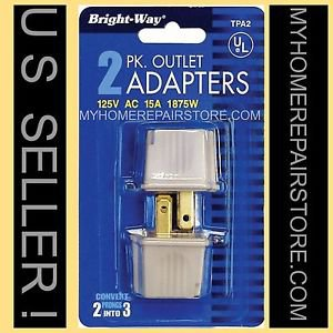 FREE S&H! 2 PACK ! BRIGHT-WAY 3 TO 2 PRONG GROUNDING OUTLET ADAPTER CHEATER PLUG