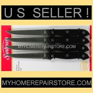 SUNBEAM STEAK KNIVES - 4 PIECE SET  WITH RIVETED STAINLESS STEEL SERRATED BLADES