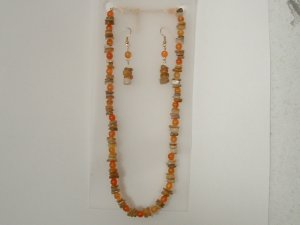 Natural Gemstone Necklace With Earrings Set