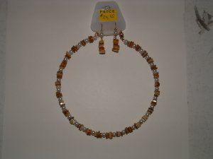Natural Agate With Simulated Pearls Necklace With Earrings