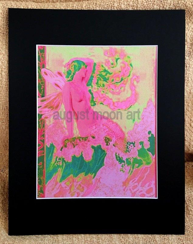Metaphysical Fantasy Fine Art Watercolor prints Pink Mystical Semi Nude Mermaid Fairy Ocean Waves