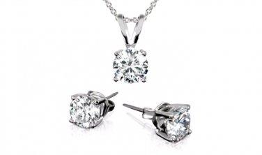 3CTW Swarvoski Elements 18K Necklace & Earring Set