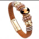 Genuine Leather w/Genuine Crystal Bracelet