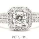 ROUND DIAMOND ENGAGEMENT RING 18K ANTIQUE DECO 1.40CTW