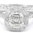 ASSCHER CUT DIAMOND BEZEL ENGAGEMENT RING & BAND 2.00CT